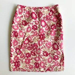 Floral Cream & Pink Silk Pencil Skirt
